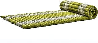 Leewadee Roll-Up Thai Mattress Guest Bed Yoga Floor Mat Thai Massage Pad Eco-Friendly Organic And Natural, 79x30x2 inches, Kapok, cream white green