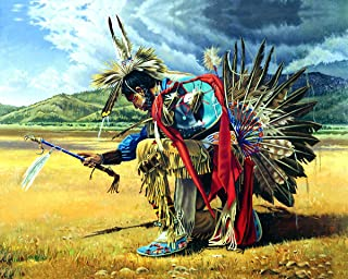 Native American Indian Rain Dancer On Prairie Wall Art Print 16x20