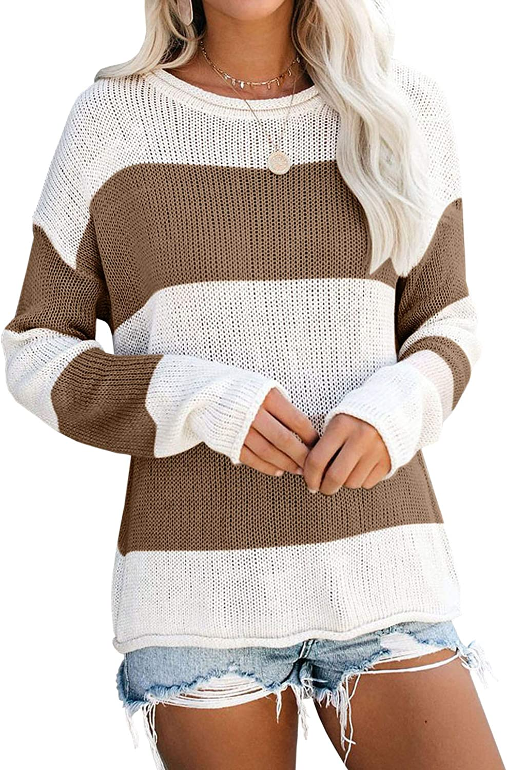 Hibluco Women's Round Neck Long Max 68% OFF Sleeve Knit Block Award Color Striped