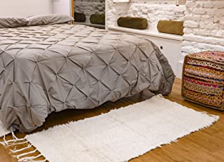 Jarapa Home Alfombra natural hecha a mano de pelo largo algodón reciclado 70 x 130 cm. Alfombra de salón, dormitorio pasil...