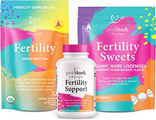 Pink Stork Fertility Bundle: Fertility Tea, Fertility Supplements for Women, Zinc Lozenges, Conception Prenatal Vitamins with Vitamin C, Zinc, Folate, Ashwagandha, + Vitex, Women-Owned