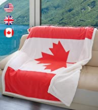 Tirrinia Canadian Flag Sherpa Throw Blanket, Super Cozy Fleece Plush Throw TV Blankets Reversible for Bed or Couch 50