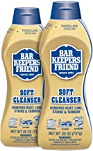 Bar Keepers Friend Soft Liquid Cleanser- Multipurpose Cleaner & Rust Stain Remover for Stainless Steel, Porcelain, Ceramic Tile, Copper, Brass 26 Oz (Pack of 2)