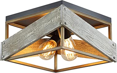 Modern Farmhouse Flush Mount Light Fixture Two-Light Metal and Wood Square Flush Mount Ceiling Light for Hallway Living Room Bedroom Kitchen Entryway,Antique Gold and Black