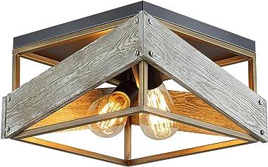 Modern Farmhouse Flush Mount Light Fixture Two-Light Metal and Wood Square Flush Mount Ceiling Light for Hallway Living Room