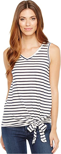 Stripe Side Tie V-Neck Tank Top