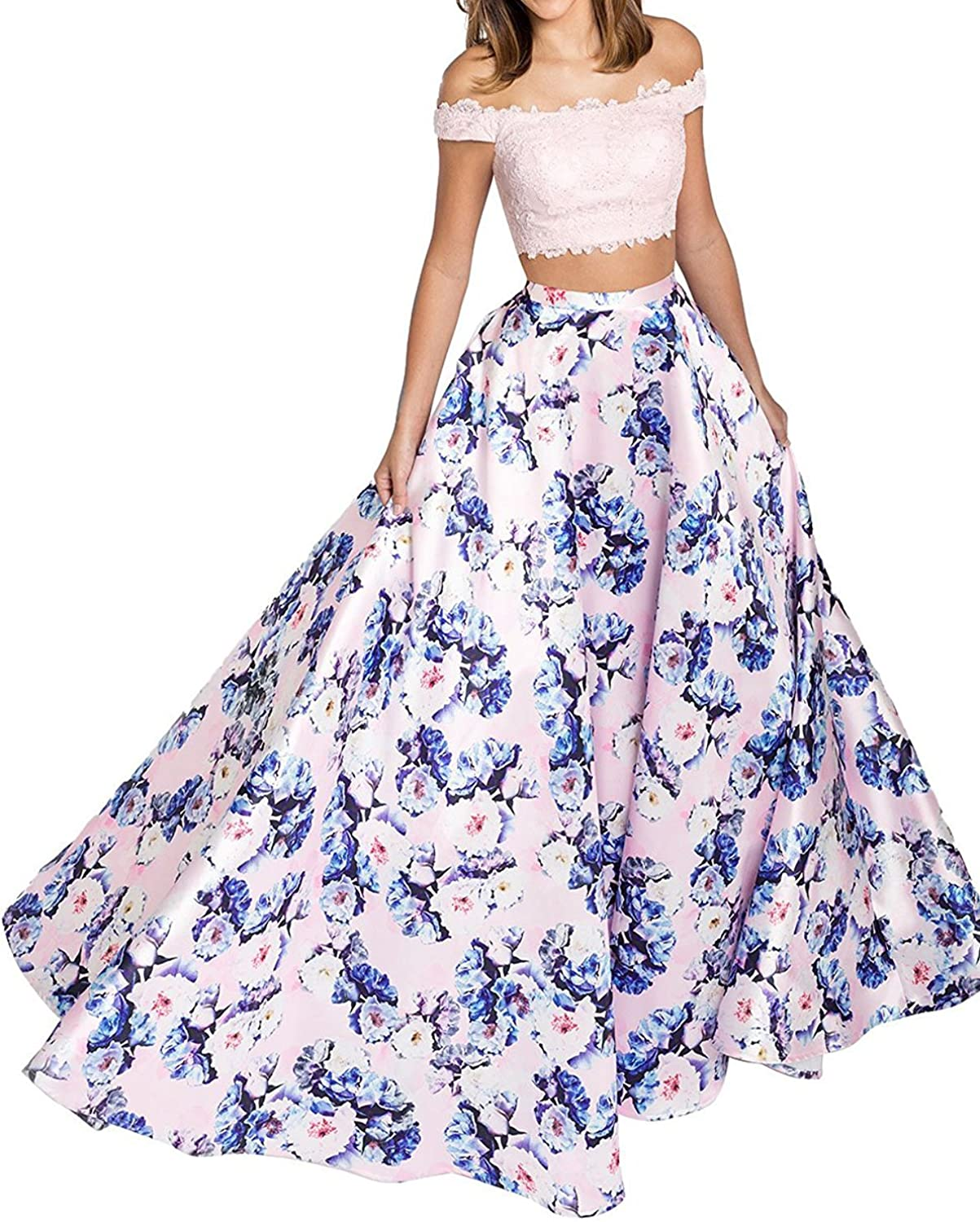 BessWedding Women's Two Piece Floral Printed Satins Prom Dresses 2018 Formal Evening Gowns BP011