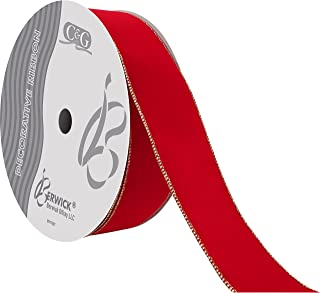 Berwick Offray DWI Value Velvet Ribbon-2-1/2 Wide X 50 Yards-Medium Red/Gold Ribbon