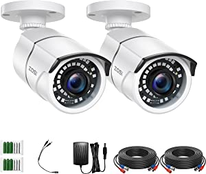 ZOSI 2 Pack 2MP 1080p HD-TVI Home Security Camera Outdoor Indoor 1920TVL,36PCS LEDs,120ft Night Vision, 105°View Angle, Weatherproof Surveillance CCTV Bullet Camera (White Color)