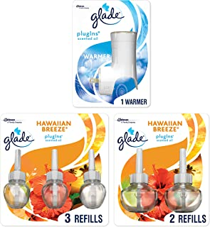 Glade Plugins Scented Oil Starter Kit, Plug in Air Freshener & Refills, Hawaiian Breeze, 1 Warmer + 5 Refills, 3.35 Fl Oz, Pack of 5