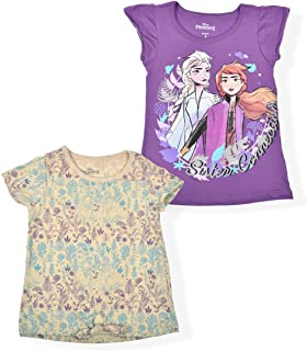 Disney Frozen Girls 2-Pack Tees, Knotted Shirt and Ruffle Sleeve Top