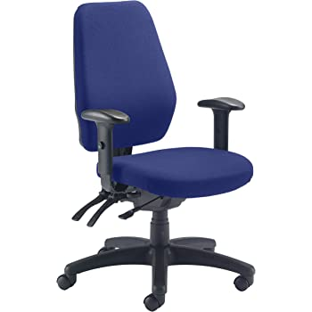 Office Hippo 24-Hour High Back Office Chair, 152 kg Weight Tolerance, 2D Adjustable Arms, Fabric, Royal Blue