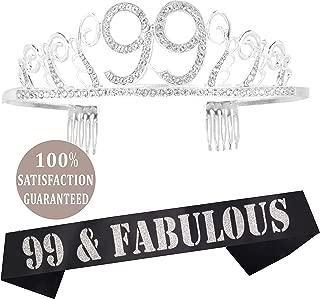 99th Birthday Tiara and Sash Silver, 99th Birthday Gifts for Woman, HAPPY 99th Birthday Party Supplies, 99 & Fabulous Glitter Satin Sash and Crystal Tiara Birthday Crown for 99th Birthday Party Suppl