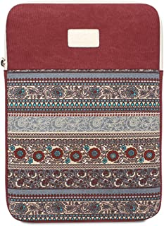 Feisman 11 Inch Laptop Case Tablet Sleeve Compatible for MacBook Air 11.6 Inch New Macbook 12 Inch Surface Pro 4,3 Chromebook, Waterproof Canvas zipper pocket Notebook Bag -Wine Red