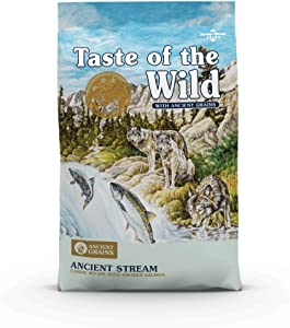 Taste of the Wild with Ancient Grains Ancient Stream Canine Recipe with Smoked Salmon Dog Food for All Life Stages, Made with High Protein from Real Salmon and Guaranteed Nutrients and Probiotics 5lb
