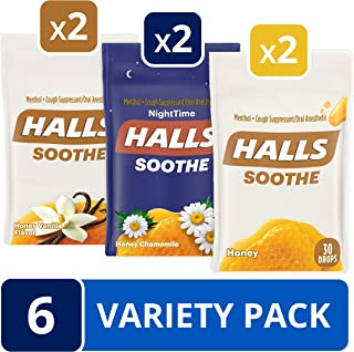 Halls Honey Cough Drops Variety Pack - 170 Total Drops (Honey, Vanilla & Honey Chamomile)