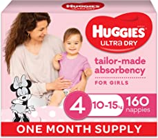 Huggies Ultra Dry Nappies Girl Size 4 (10-15kg) 1 Month Supply 160 Count