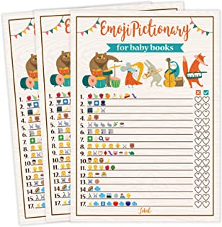 Baby Shower Games, 25 Emoji Pictionary For Baby Book Name, Fun Guessing Game, Gender Neutral Ideas Shower Party For Men, Women, Kids, Girls or Boys, and Couples, Cute Shower Party Bundle Set- Woodland