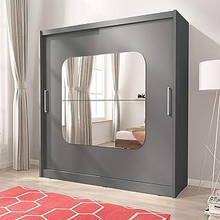 Maya 8 – Armoire de chambre à coucher avec miroir centré 2 portes avec rail de suspension 180 cm de large – Gris