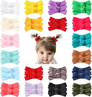 Cinaci 40 Pack/20 Pairs Solid Pigtail Grosgrain Ribbon Bow Fully Lined Alligator Hair Clips Barrettes Accessories for Baby...