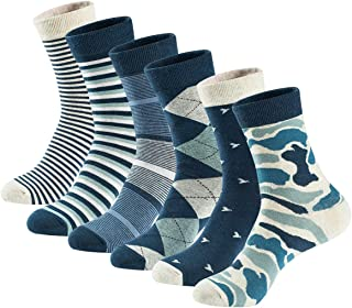 Men's Dress Socks High Ankle Cotton Casual Patterned Socks 6 Pairs