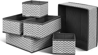 comprar comparacion HOMFA Juego de 6 Cajas Organizador de Cajones Almacenamiento Plegable para Sujetadores Bragas Calcetines Gris