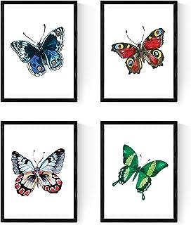 Nacnic Ensemble DE 4 Cadres à encadrer, 4 Papillons Colorés, Taille A4. Décoration de la Maison. Papier 250 Grammes de Hau...