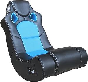 AVANTI TRENDSTORE - Poltrona Musicale Nero-Blu in Ecopelle con diffusori Surround e Subwoofer ca. 56x98x82cm