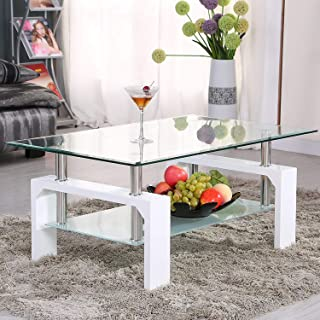 Mecor Rectangle Glass Coffee Table-White Modern Side Coffee Table with Lower Shelf Wooden Legs-Suit for Living Room 2 Tier