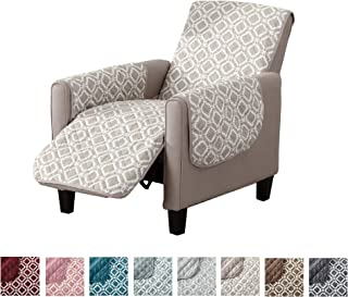 Great Bay Home Reversible Recliner Cover. Printed Recliner Chair Covers for Living Room with Secure Straps. Protect from Kids, Dogs and Pets. (26