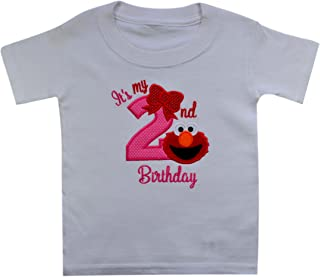 Elmo It's My 2nd Birthday Embroidered T-Shirt for Toddler Girls Turning 2
