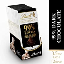 Lindt EXCELLENCE 99% Cocoa Dark Chocolate Bar, 1.8 oz, 12 Pack
