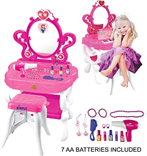 2-in-1 Musical Piano Vanity Set Girls Toy Makeup Accessories with Working Piano & Flashing Lights, Big Mirror, Pretend Cosmetics, Hair Dryer - Princess Image Appears in Mirror, 7 AA Batteries Included