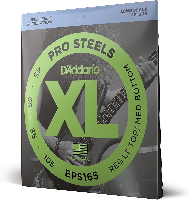 d'Addario EPS165 Juego de cuerdas para bajo eléctrico de acero, 045', 105', Transparente