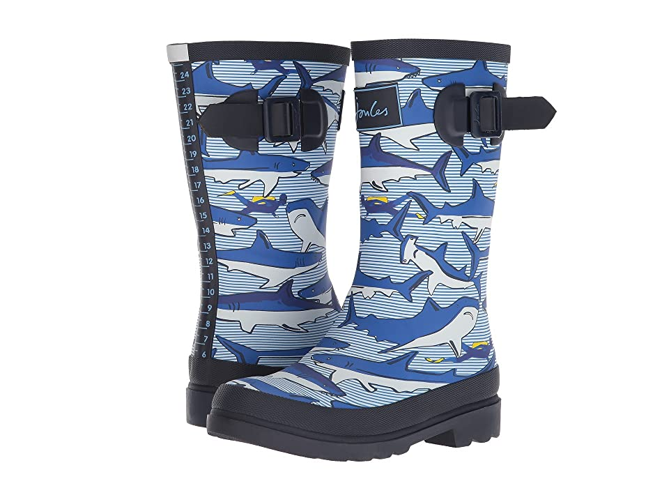 Joules Kids Printed Welly Rain Boot (Toddler/Little Kid/Big Kid) (Shark Dive Stripe) Boys Shoes