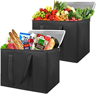 Insulated Reusable Grocery Bags(2 Pack-Black),Sturdy Zipper, Completely Reinforced Bottom & Handles Tote for Warm or Cold Food, Freezer Items, Delivery, Foldable, Washable, Heavy Duty, Stands Upright