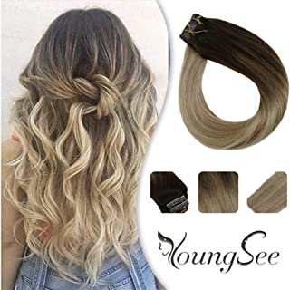 YoungSee Remy Tape in Brown Hair Extensions Balayalage Dark Brown to Caramel Blonde with Blonde Seamless Pu Tape in Hair Extensions Human Hair 20pcs 50gram 16inch
