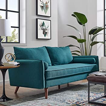 Amazon.com: Modway Revive Contemporary Modern Fabric Upholstered Sofa In Teal: Furniture & Decor