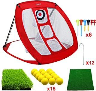 MESIXI Pop Up Golf Chipping Net   Perfect Golf Gifts for Men, Outdoor Indoor Putting Green Golfing Target Accessories Backyard Practice Swing Game with 15 Training Balls and Two Hitting Mats