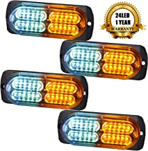 MustBee 24 Led Strobe Lights for Trucks Cars Pickups Construction Emergency Vehicle 12-24v Waterproof Amber Strobe MINI Light with 16 Different Flashing 4PCS(White Amber)