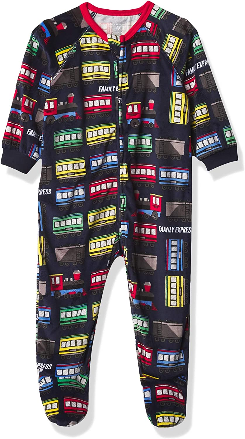 The Children's Place Boys' Baby and Toddler Trains Fleece One Piece Pajamas