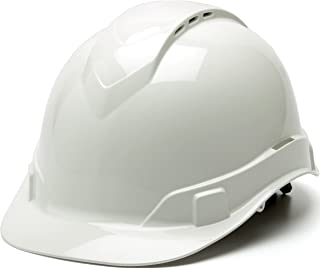 Pyramex Ridgeline Cap Style Hard Hat, Vented, 4-Point Ratchet Suspension, White