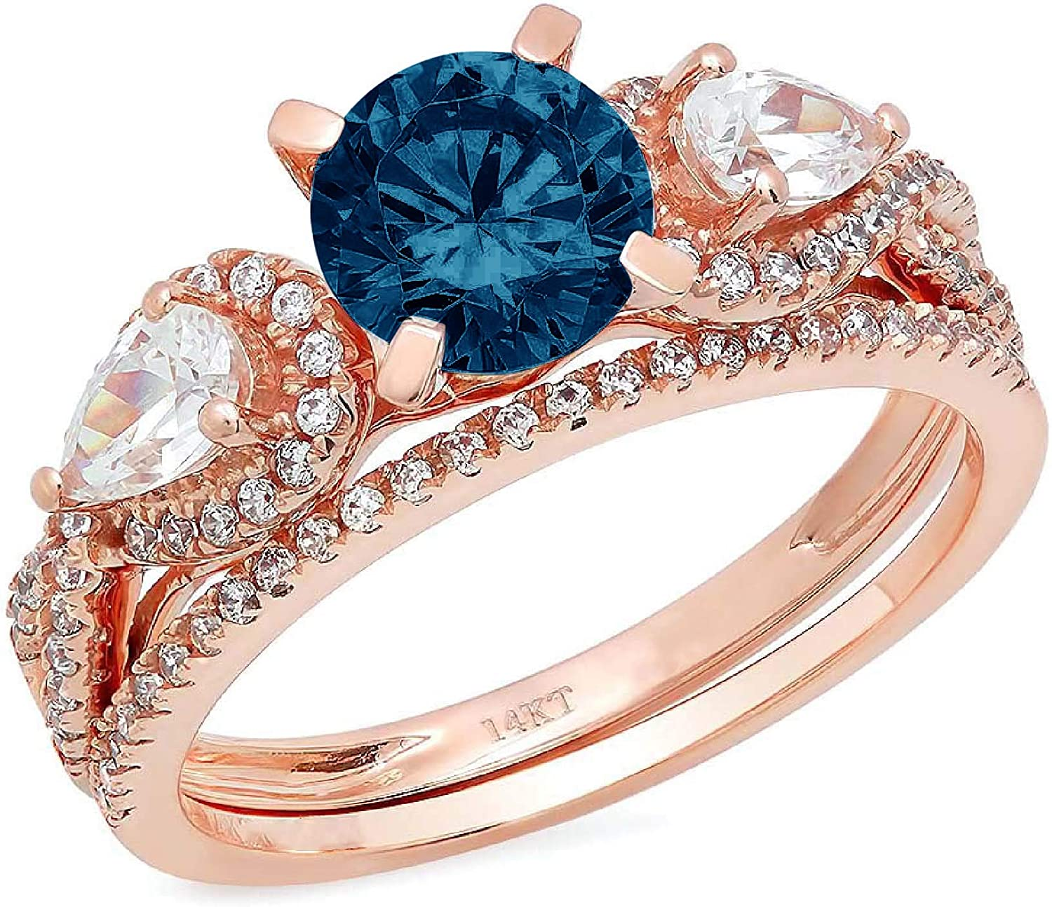 1.94ct Round Pear Cut Solitaire 3 stone With Accent VVS1 Ideal Natural Royal Blue Engagement Promise Designer Anniversary Wedding Bridal Ring band set 14k Rose Gold