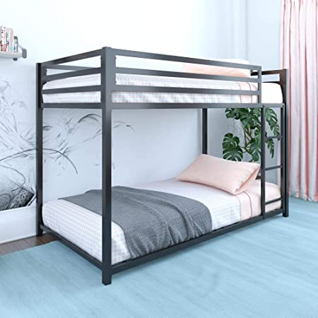 DHP Miles Metal Bunk Bed, Black, Twin over Twin
