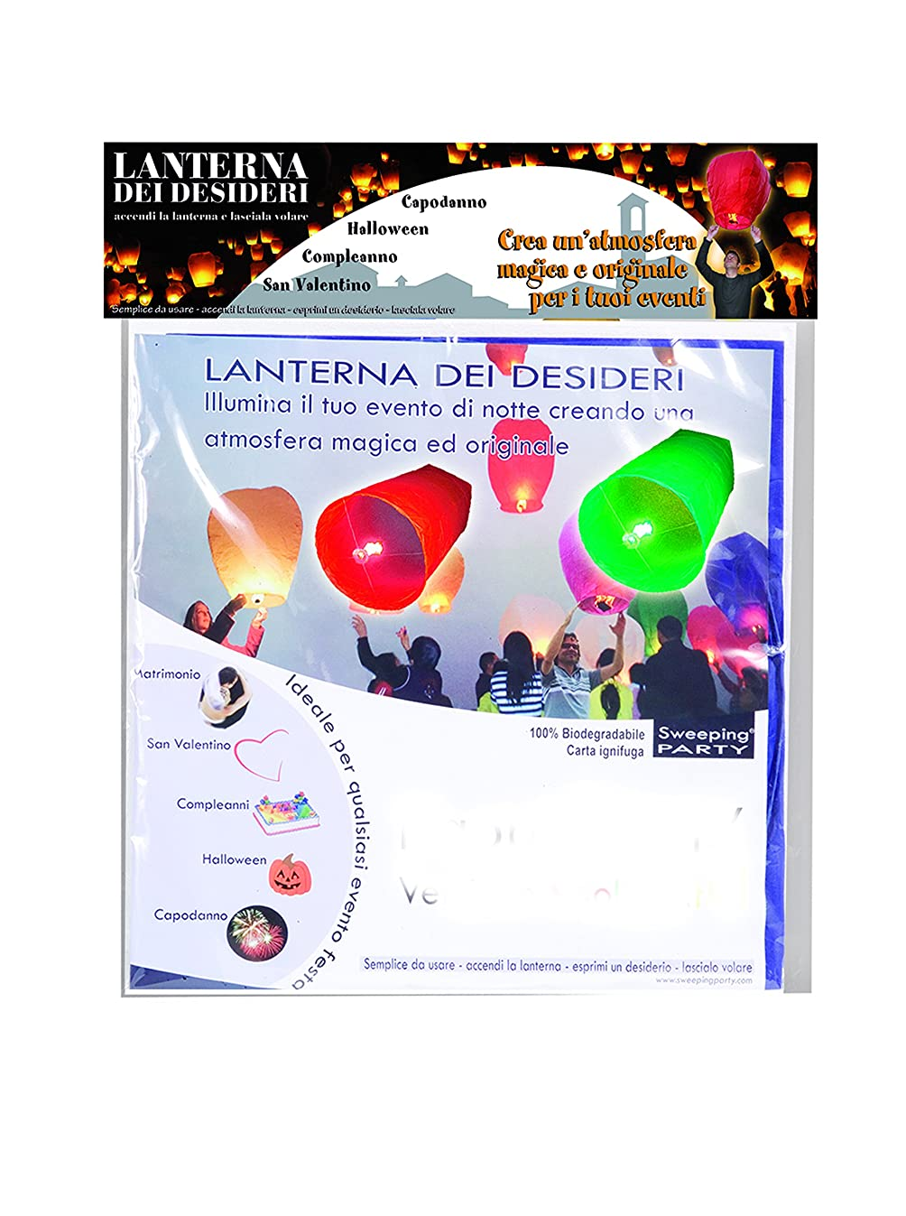 Ciao?–?Sky Lantern Set 4?Coloured Lanterns of Wishes, Assorted Colours