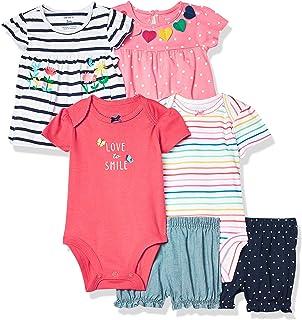 Carter's Baby Girls' 6-Piece Bodysuit Tee and Short Set