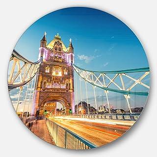 Designart Beautiful View of Tower Bridge London Cityscape Round Metal Wall Art Disc of 23 inch, 23X23-Disc