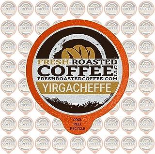 Fresh Roasted Coffee LLC, Ethiopian Yirgacheffe Coffee Pods, Medium Roast, Single Origin, Capsules Compatible with 1.0 & 2.0 Single-Serve Brewers, 72 Count