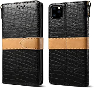 iPhone 11 Pro Max Case, Hongxinyu Crocodile Pattern Wallet Folio Flip Leather Magnetic Slim Back Cover Card Holder Slot for iPhone 11 Pro Max 6.5'' (Black)