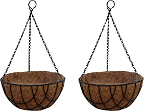 TABOR TOOLS Metal Hanging Planter Basket with Natural Coconut Coir Liner, Water Saving Hanging Flower Pot, Decor Hanging Basket, Chain and Hook Included. 2-Pack MT2100A (10'', Black)